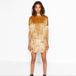 Zara Crushed Velvet Mock Neck Dress in Yellow Gold